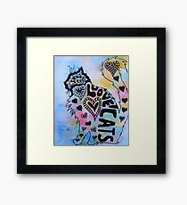 Love Cats Zentangle Watercolor and Ink Painting Framed Print