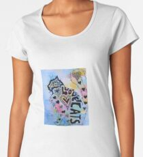 Love Cats Zentangle Watercolor and Ink Painting Women's Premium T-Shirt