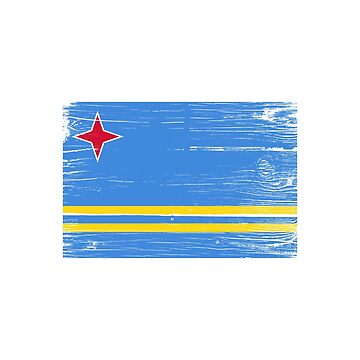 Flag of Aruba distressed by RBBeachDesigns
