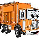 Orange Smiling Garbage Truck Cartoon by Scott Hayes