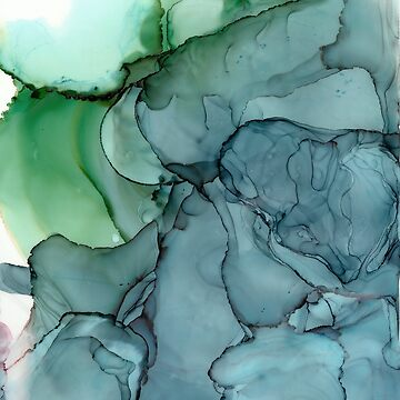 Green Blue Mist Abstract Painting by laurabethlove