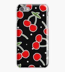 Retro Cherries and Stars Pattern iPhone Case/Skin