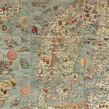 Vintage Midieval European Map by 4Craig