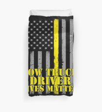 Tow Truck Driver Lives Matter Thin Yellow Line American Flag Duvet Cover