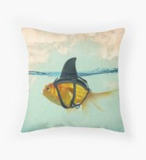 Brilliant DISGUISE - Goldfish with a Shark Throw Pillow
