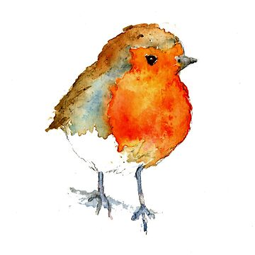 Watercolour Robin by MADEBYCATHERINE