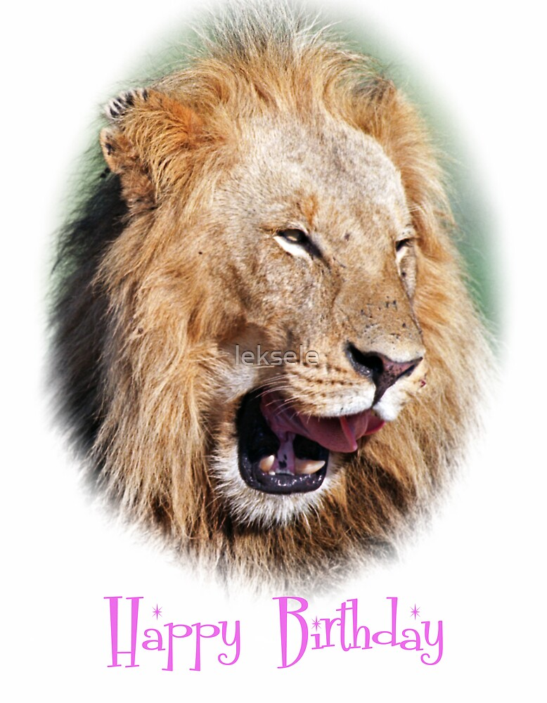 lion happy birthday card by leksele