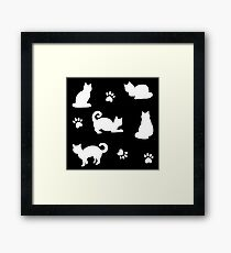 White Cats and Paw Prints on Black Pattern Framed Print