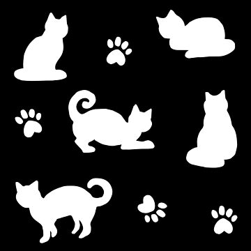 White Cats and Paw Prints on Black Pattern by julieerindesign
