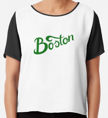 Boston White Hand Lettering Chiffon Top