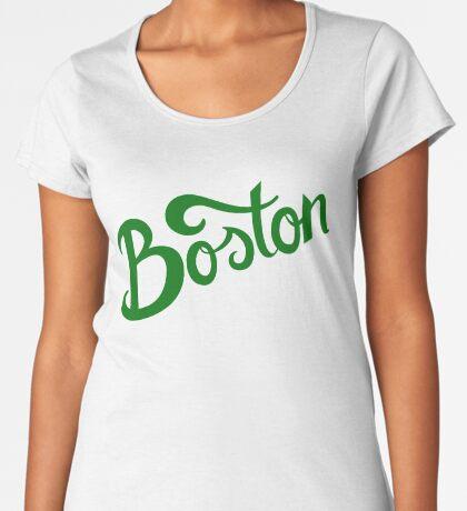 Boston White Hand Lettering Premium Scoop T-Shirt