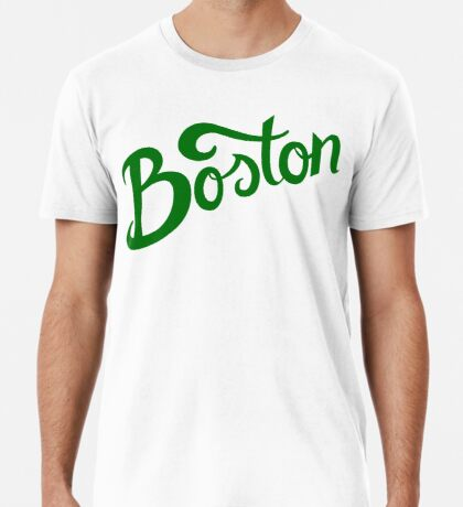 Boston White Hand Lettering Premium T-Shirt
