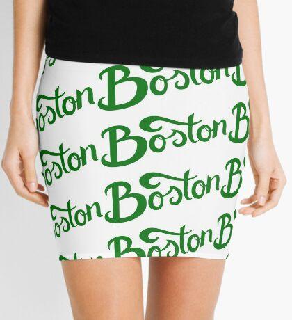 Boston White Hand Lettering Mini Skirt