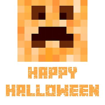 Halloween Creeper Face Pixel Art Pattern. Minecraft Fan Design. by -WaD-