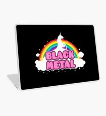 BLACK METAL! (Funny Unicorn / Rainbow Mosh Parody Design) Laptop Skin