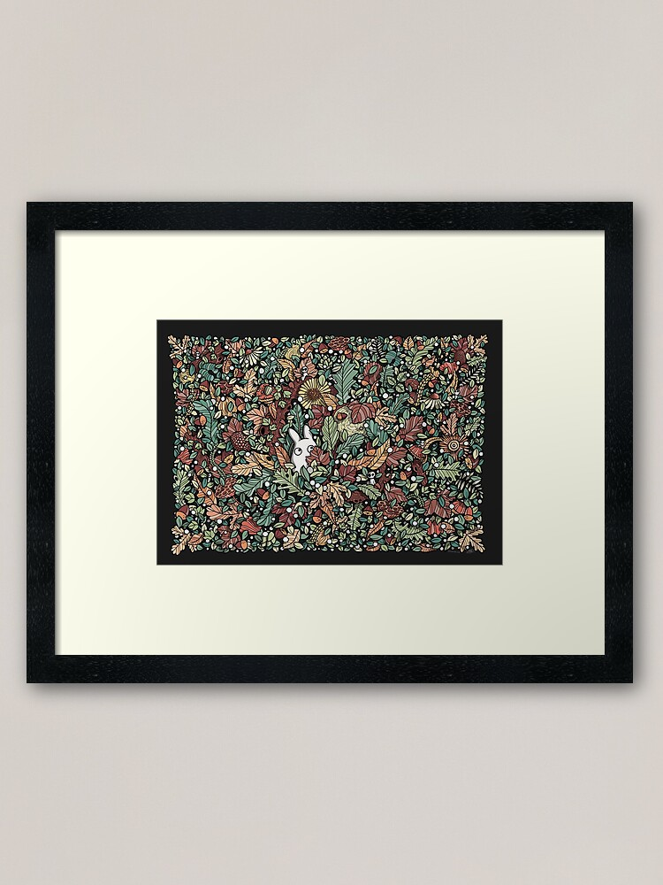 Alternate view of Chibi with fall leaves Framed Art Print