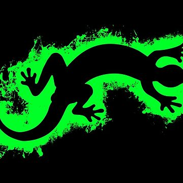 Animal gecko green and black silhouette by VincentW91