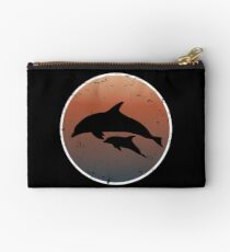 Dolphins on dark sunset colors Studio Pouch