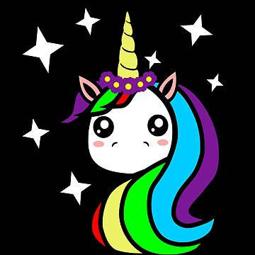 Cute Unicorn T-Shirt  Magical Unicorn Face with Stars by LuckyU-Design