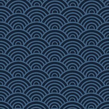 Seikaiha Blue Japanese waves style by MarylinRam18