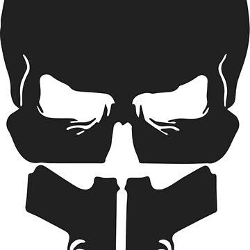 Grey Skull and Guns by FayeLangoulant