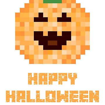 Halloween Pumpkin Face Pixel Art Pattern. Holiday Fan Design. by -WaD-