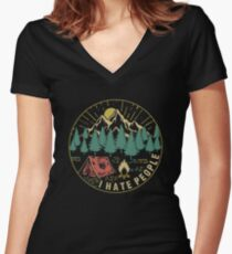 Camping Hiking I Hate People Women's Fitted V-Neck T-Shirt