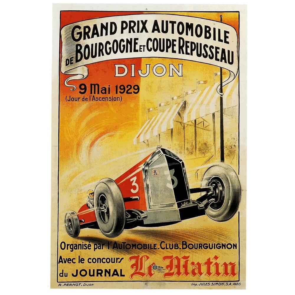 French Grand Prix, Dijon - 1929: Vintage Poster Design by Chunga