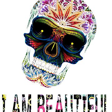 Funny Vintage Floral Skull i am beautiful T-shirt Cute Floral Flower red shirt by mirabhd