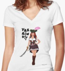 Lusty Pirate Queen Women's Fitted V-Neck T-Shirt