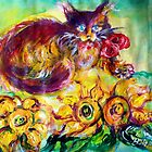 CAT WITH RED RIBBON AND SUNFLOWERS by BulganLumini