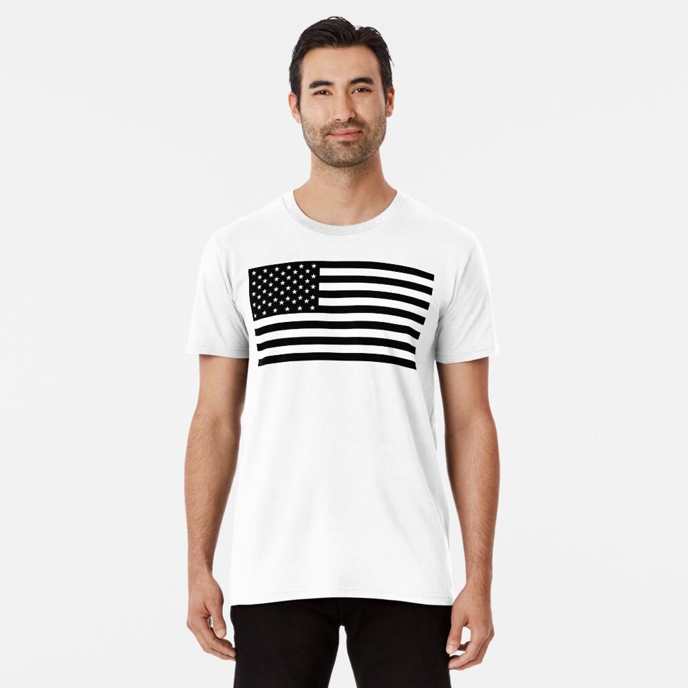 Bandera americana, STARS & STRIPES, EE. UU., América, negro sobre blanco Camiseta premium