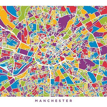 Manchester England Street Map by ArtPrints