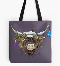 Christmas Highland Cow Tote Bag