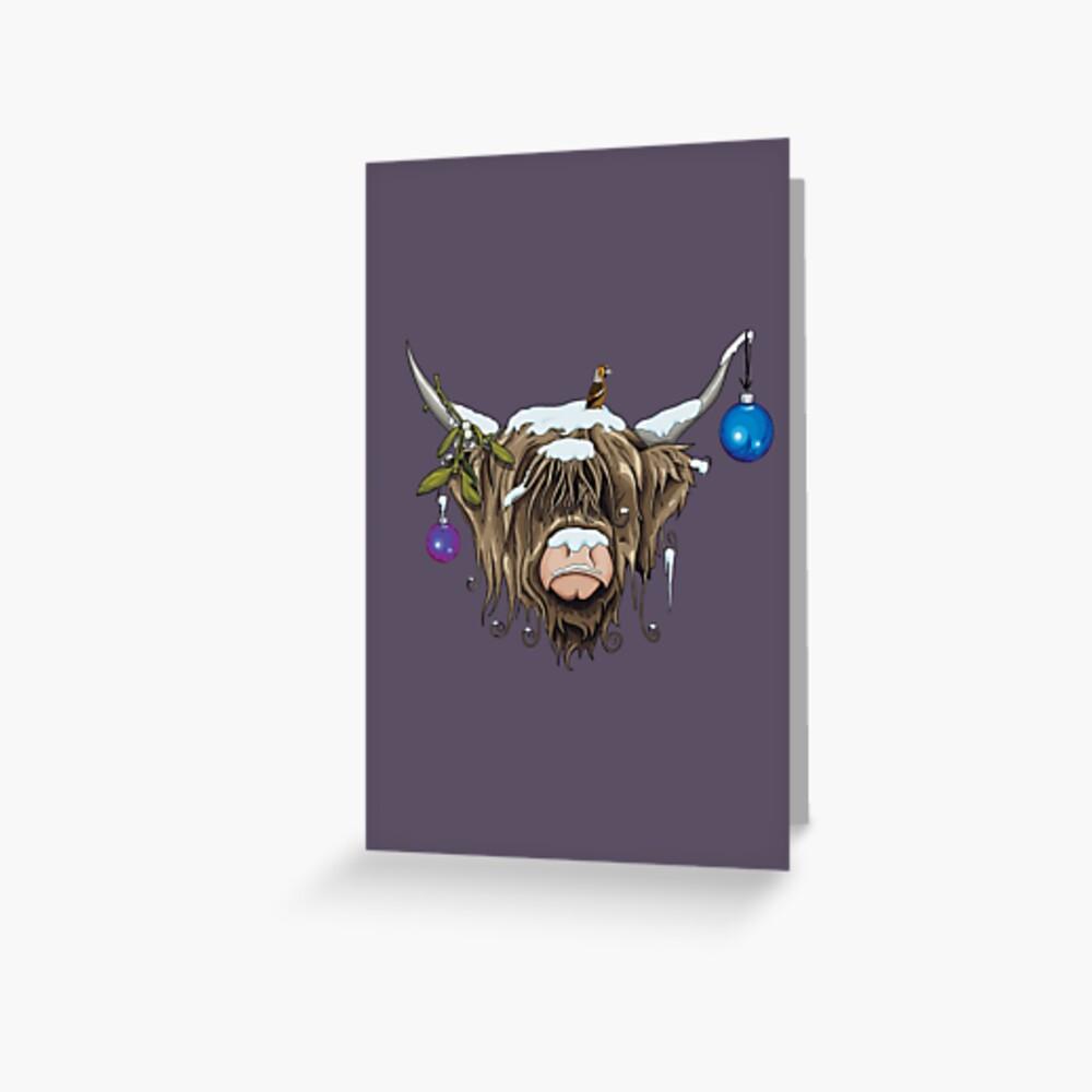 Weihnachten Highland Cow Grußkarte