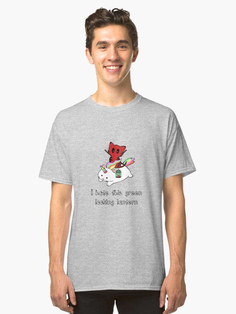 Catpool rides Caticorn with lantern Classic T-Shirt Front