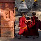 Buddhist monks, Swayambhunath by Richard  Stanley