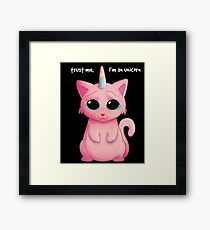 Funny Caticorn Trust Me I Am An Unicorn Cute Cat T-shirt Framed Print