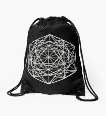 White Geometric Mandala - Sacred Geometry Drawstring Bag
