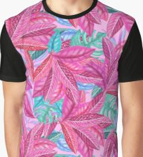 Plant leaves pattern pink Graphic T-Shirt