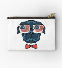 Pug With Glasses And Tie American Flag  TShirt Studio Pouch