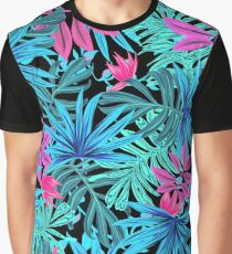 Plant leaf pattern turquoise Graphic T-Shirt