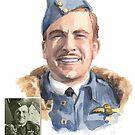 WWI RAF hero Watlington watercolor by Mike Theuer