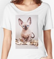 Sphynx kitten with blue eyes, no hair Women's Relaxed Fit T-Shirt