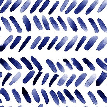 Indigo watercolor boho herringbone by laurathedrawer