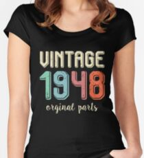 Vintage Retro 1948 70 Years Old 70th Birthday Gift T Shirt Womens Fitted Scoop