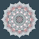 Expansion - boho mandala in soft salmon pink & blue by micklyn
