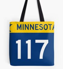 Minnesota Trunk Highway MN 117 wide   United States Highway Shield Sign Sticker Tote Bag