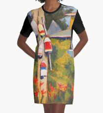 Buoys on a Telephone Pole Graphic T-Shirt Dress