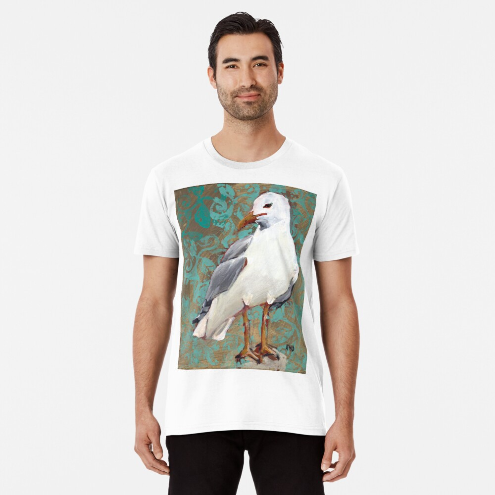 Seagull with Aqua Pattern 1 of 2 Premium T-Shirt